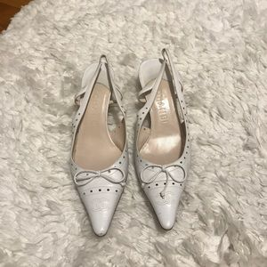 Chanel slingback heels, white, leather, size 36